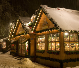 The traditional little houses of the christmas markets in South Tyrol
